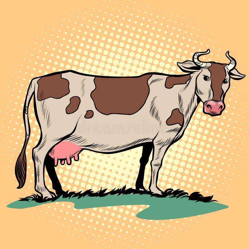 Vaca de leche de la lechería con la ubre Animal del campo stock de ilustración