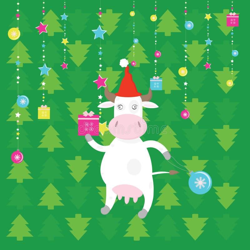 Download Vaca De Santa De La Navidad Ilustración del Vector - Ilustración de claus, felicidad: 7277274