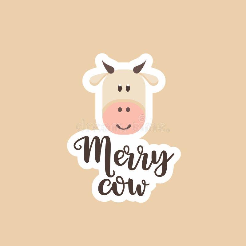 Vaca del logotipo de la etiqueta engomada feliz stock de ilustración