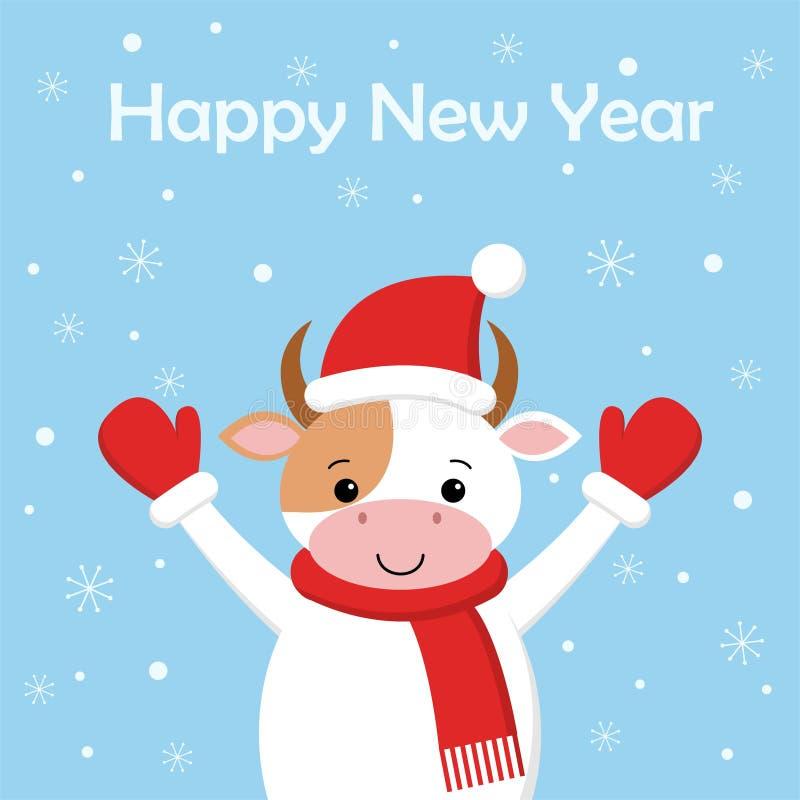 Vaca divertida de la Feliz Navidad en el sombrero de Papá Noel en nieve del fondo Tarjeta en estilo de la historieta ilustración del vector