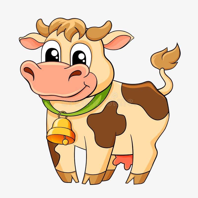 Vaca divertida de la historieta ilustración del vector