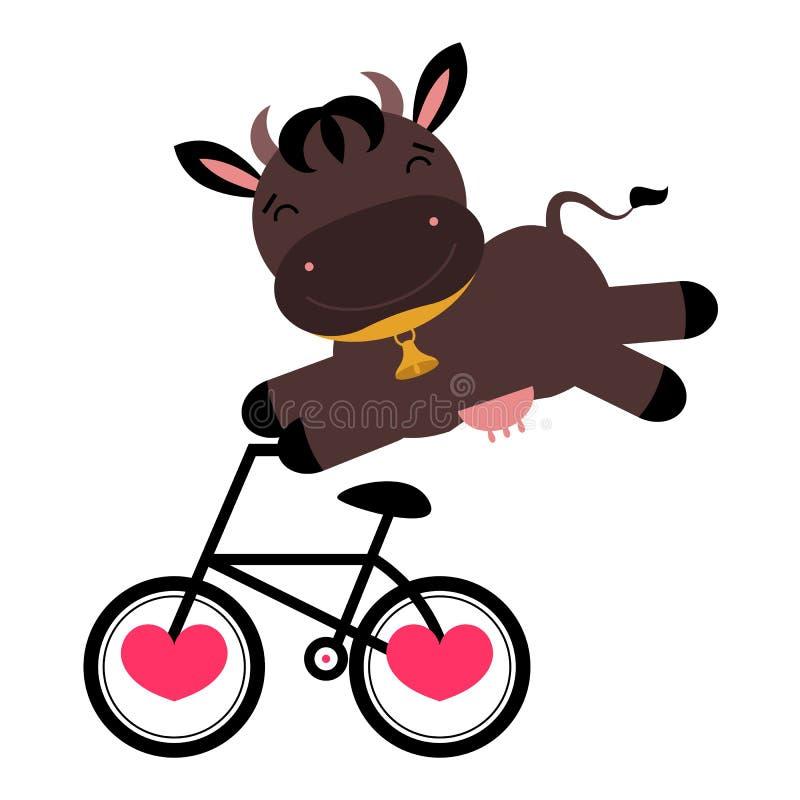 Vaca divertida en una bicicleta stock de ilustración