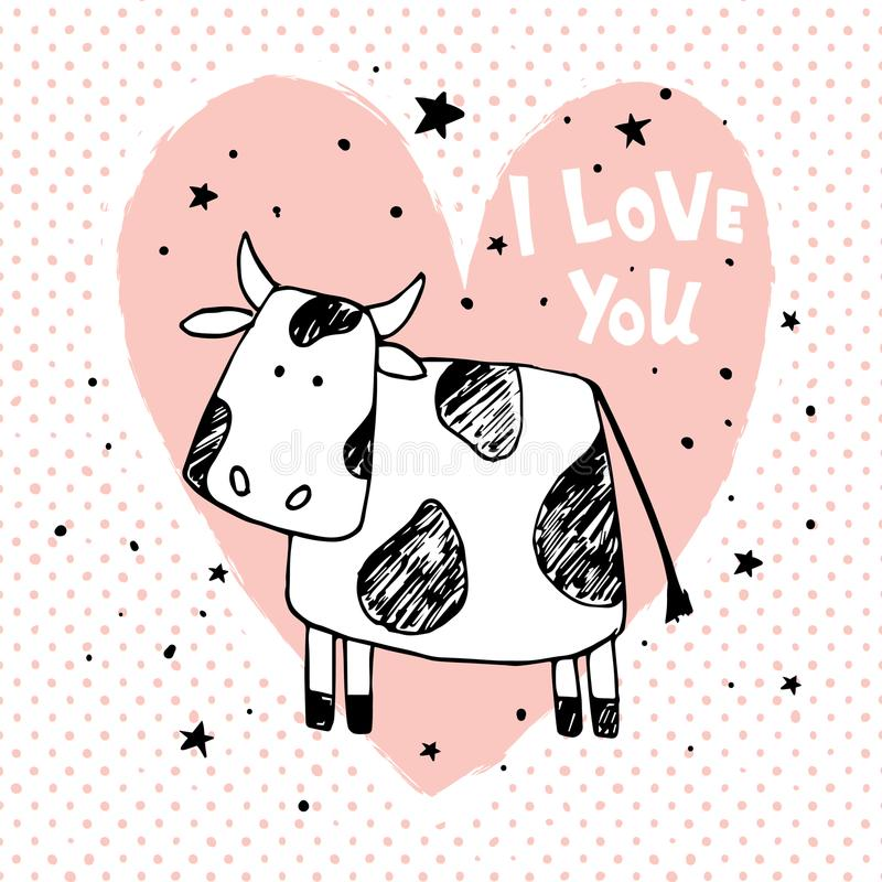 Vaca do amor ilustração stock