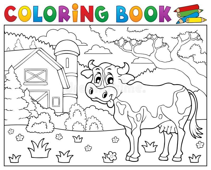Vaca do livro para colorir perto do tema 2 da exploração agrícola ilustração stock