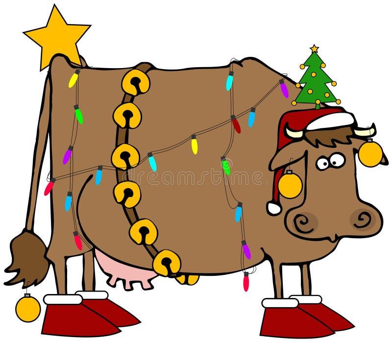 Vaca do Natal ilustração stock