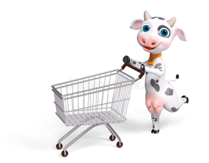 Vaca do personagem de banda desenhada que corre com rendição do carrinho de compras 3d ilustração royalty free