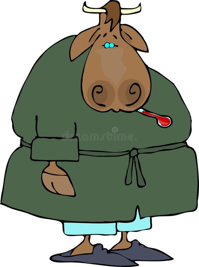 Vaca doente ilustração stock