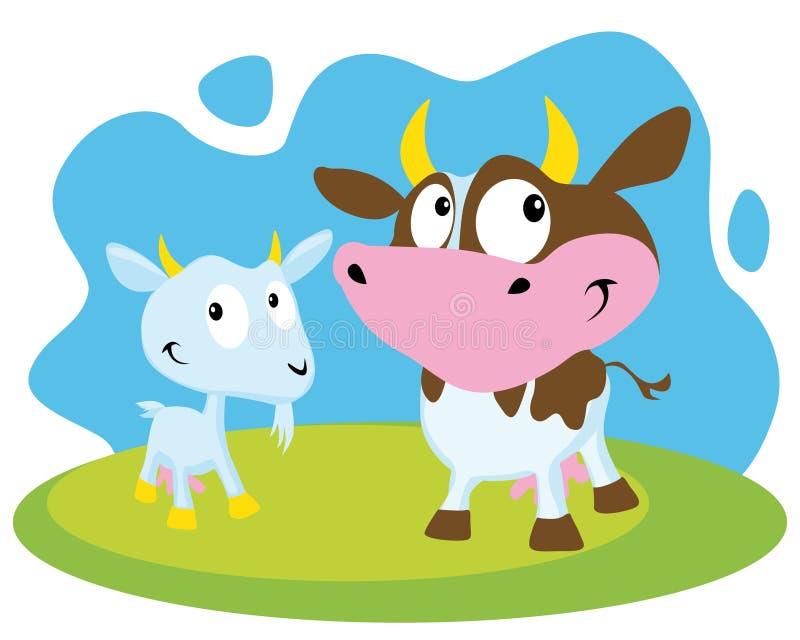 Vaca e cabra ilustração royalty free