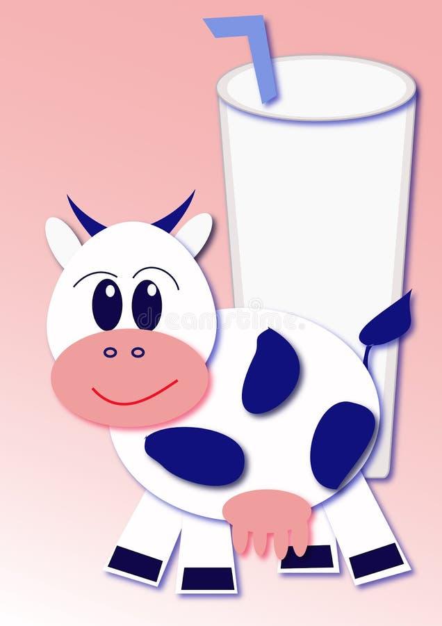 Vaca e leite ilustração stock