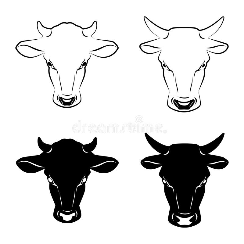 A vaca e o touro dirigem símbolos estilizados ou ícones Animais de exploração agrícola ilustração do vetor