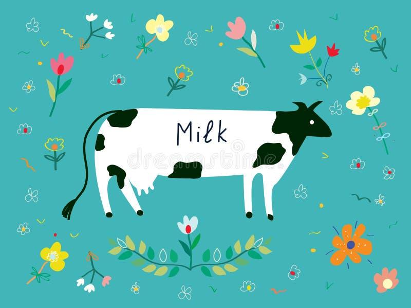 A vaca e os flowes para a etiqueta do leite projetam ilustração royalty free