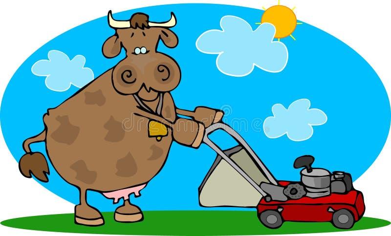 Vaca e um Lawnmower ilustração royalty free