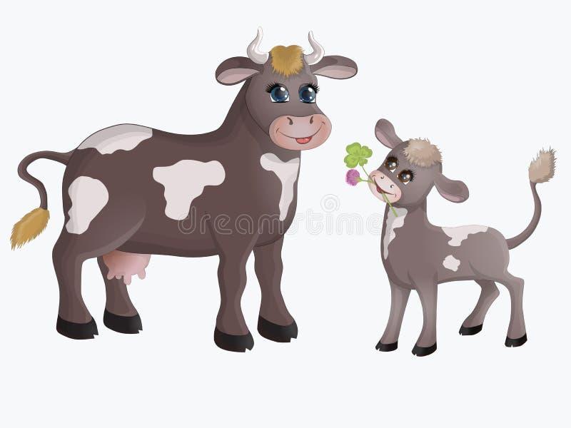 Vaca e vitela ilustração do vetor