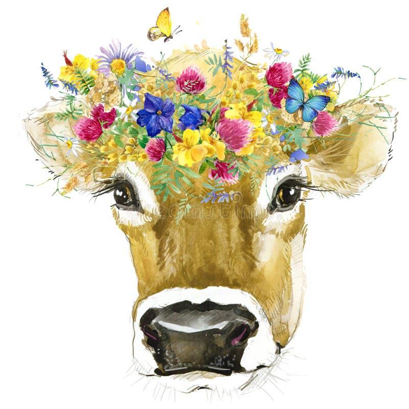 Vaca Ejemplo de la acuarela de la vaca Raza de la vaca de ordeño stock de ilustración