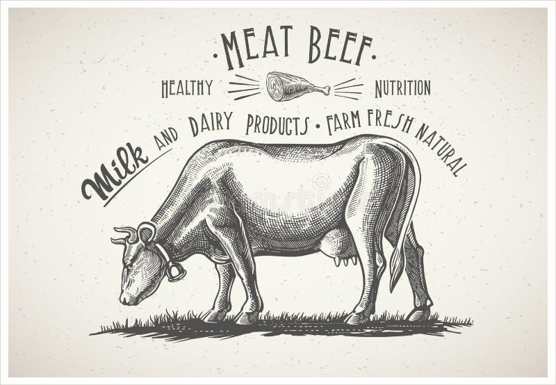 Vaca en estilo gráfico stock de ilustración