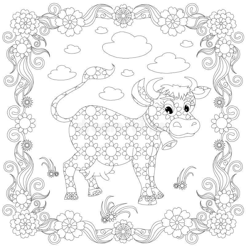 Vaca en página del colorante del marco Ejemplo lindo de las historietas del elemento del diseño floral ilustración del vector