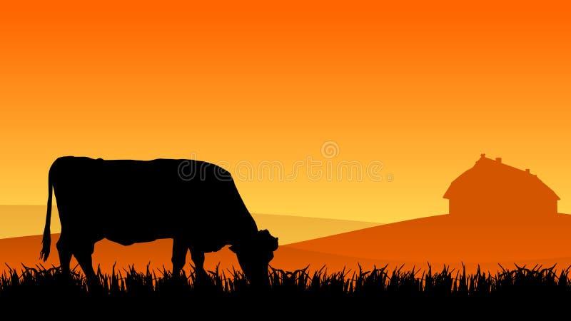 Vaca en pasto ilustración del vector