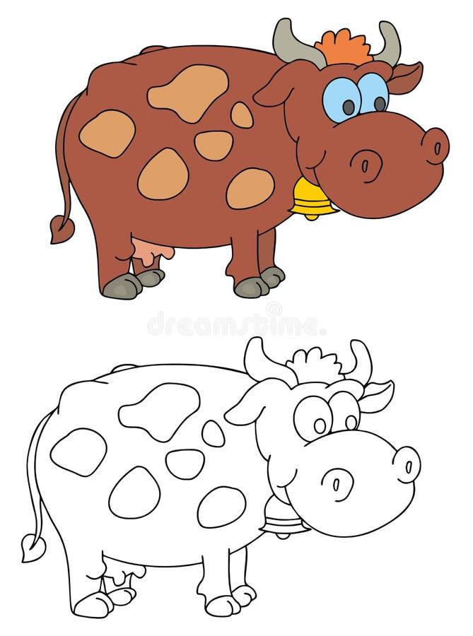 Vaca engraçada com sino ilustração stock