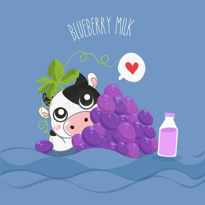 Vaca lechera de la leche de la uva muy linda ilustración del vector