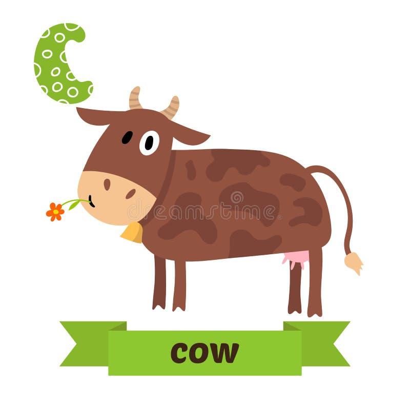 vaca Letra de C Alfabeto animal das crianças bonitos no vetor Ca engraçado ilustração royalty free