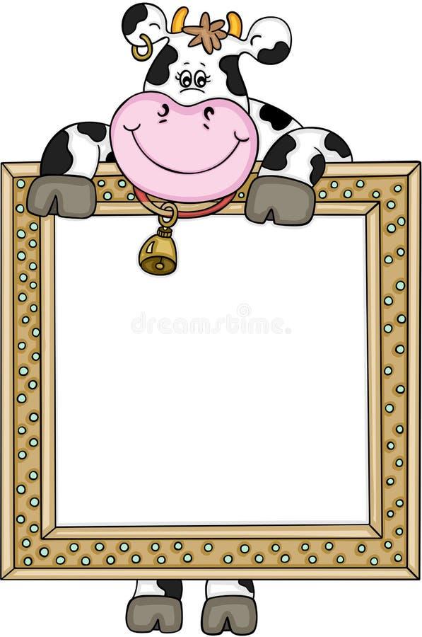 Vaca linda con el marco stock de ilustración. Ilustración de clip ...