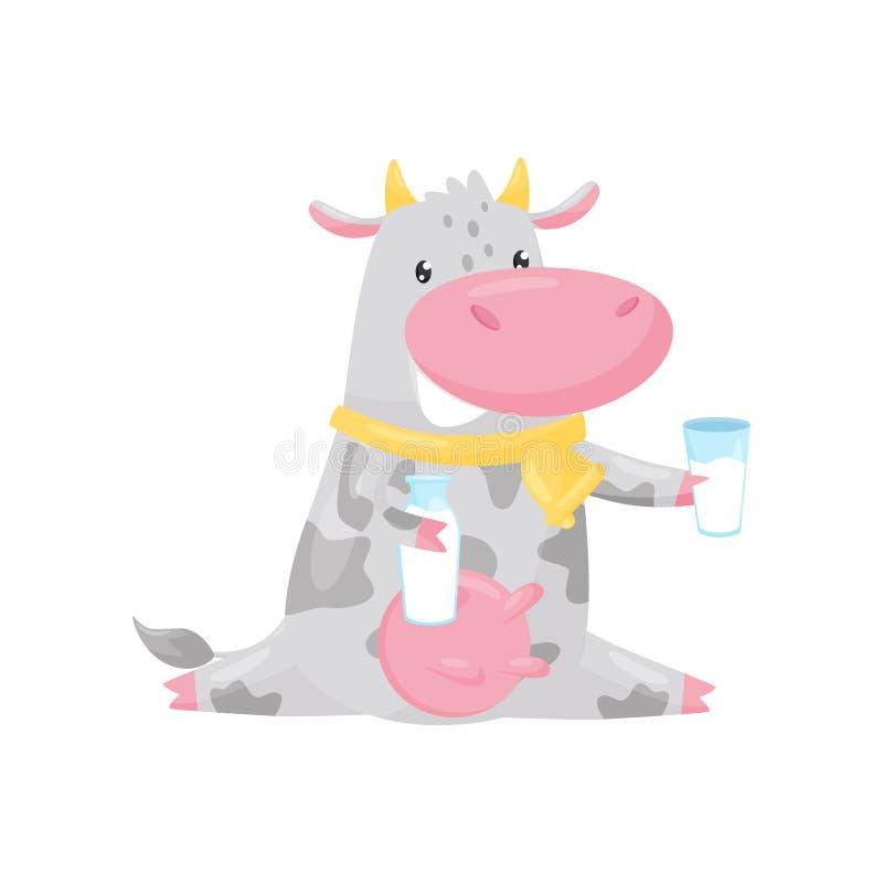Vaca manchada preciosa que sienta y que sostiene la botella y el vidrio de leche, ejemplo del vector del personaje de dibujos ani stock de ilustración