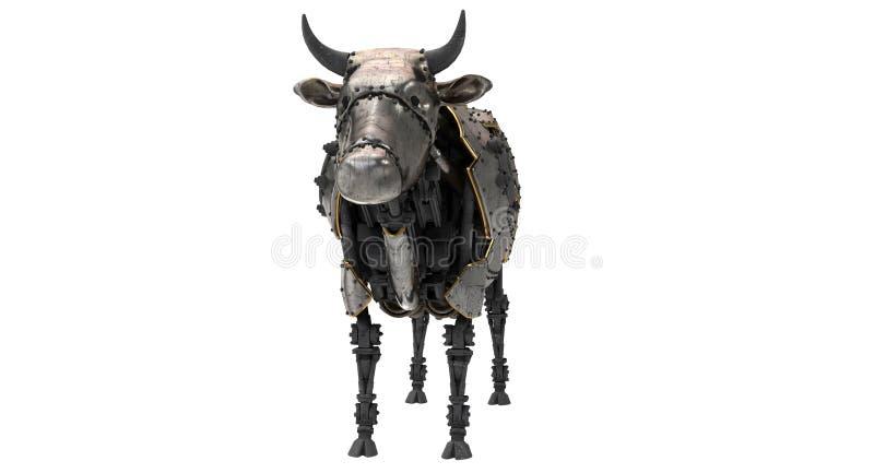 Vaca mecánica del robot en estilo del stiunk en un fondo blanco aislado ilustración 3D stock de ilustración