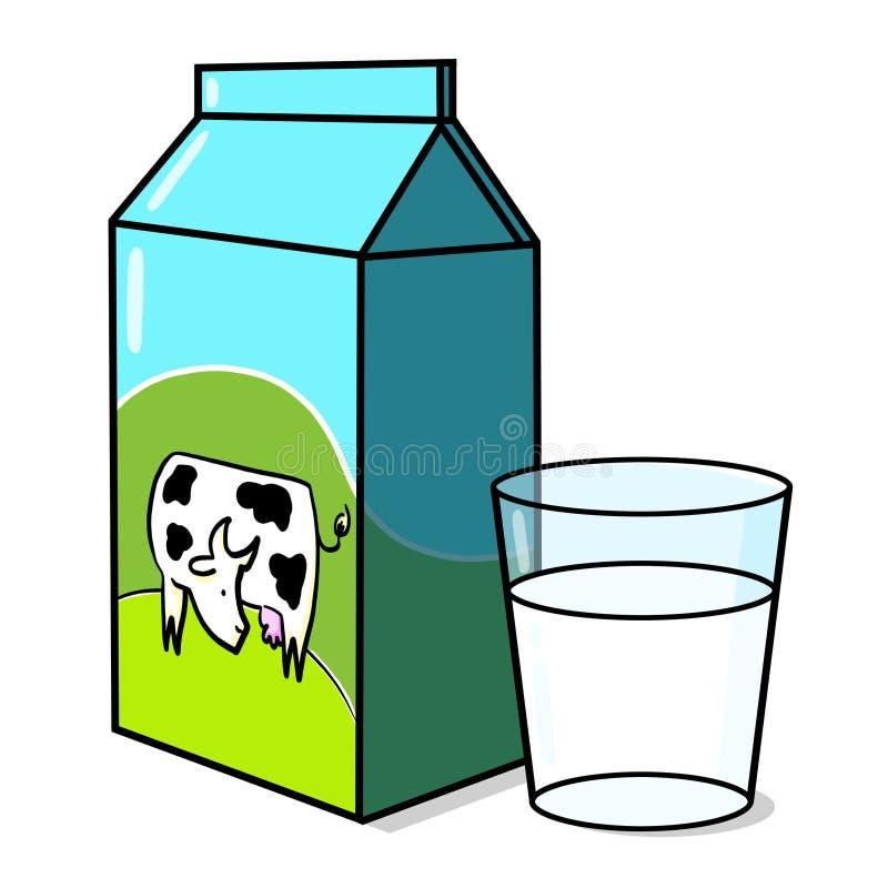 Vaca na caixa do leite e em um vidro do leite ilustração stock