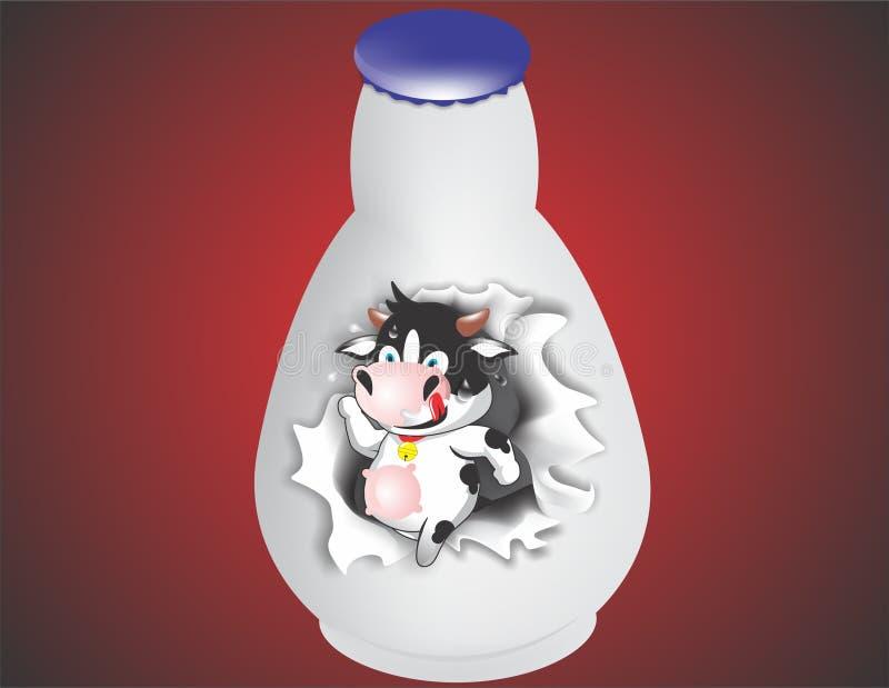 Vaca no botle ilustração royalty free