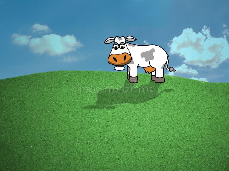 Vaca no campo ilustração stock