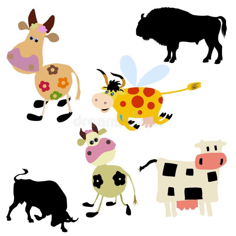 Vaca no fundo branco ilustração do vetor