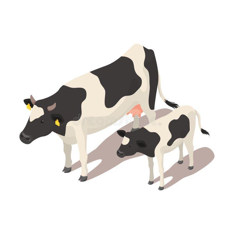 Vaca pequeña y grande isométrica stock de ilustración