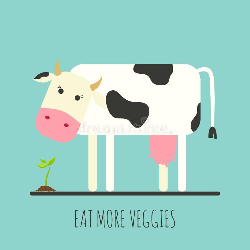 Vaca plana con el brote Icono plano de la vaca Coma más veggies Ilustración del vector foto de archivo