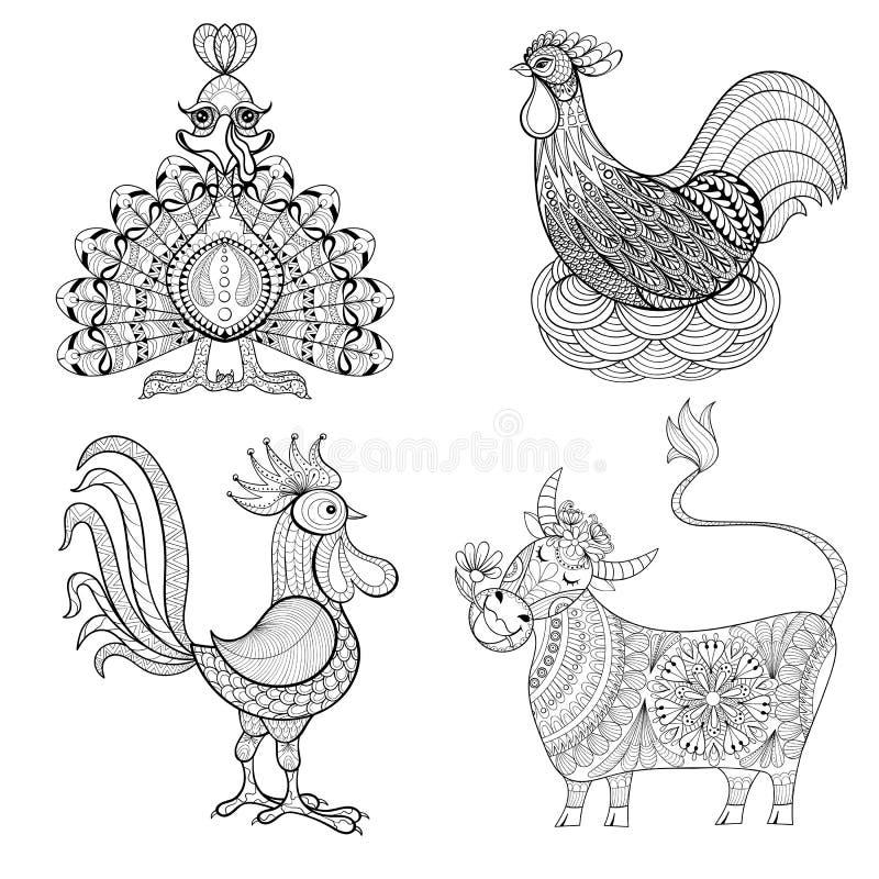 Vaca, pollo en la jerarquía, gallo, Turquía para la página adulta del colorante, z stock de ilustración