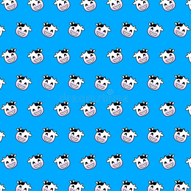 Vaca - teste padrão 01 do emoji ilustração stock