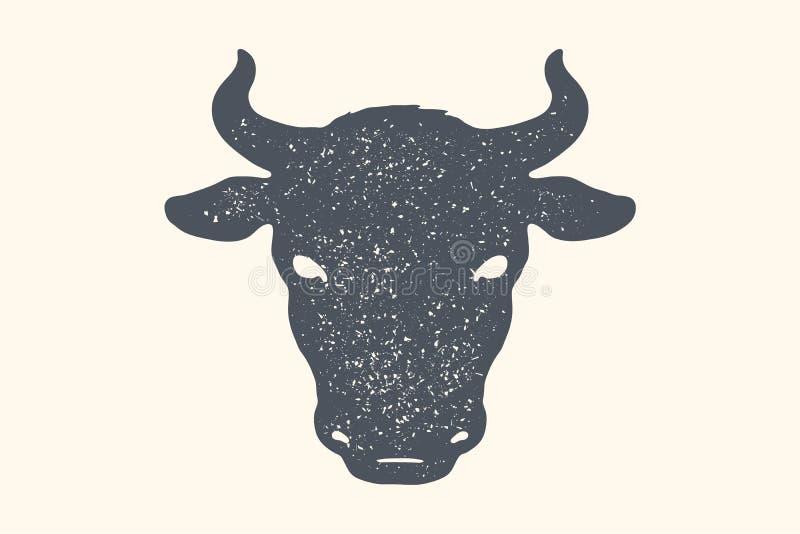 Vaca, touro Cópia retro do vintage, cartaz, bandeira Rebecca 36 ilustração do vetor