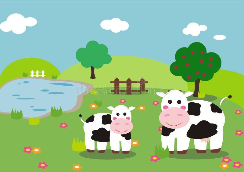 Vaca y becerro ilustración del vector