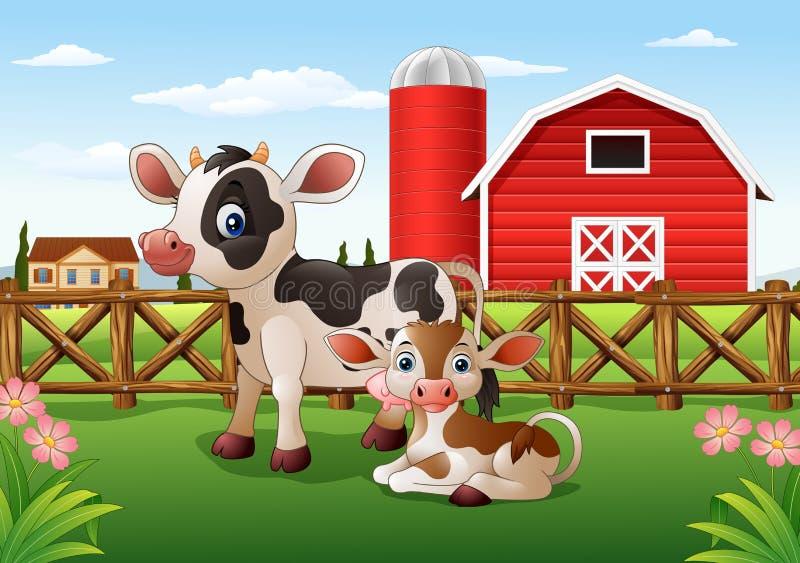 Vaca y becerro de la historieta con el fondo de la granja libre illustration