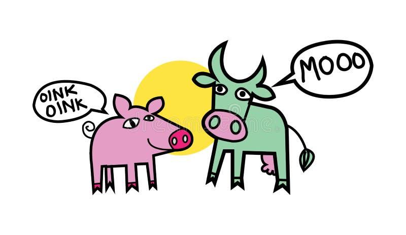 Vaca y cerdo ilustración del vector