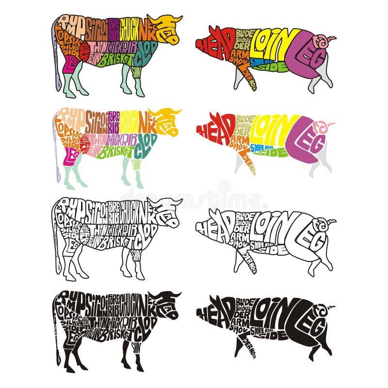 Vaca y cerdo coloreados aislados ilustración del vector