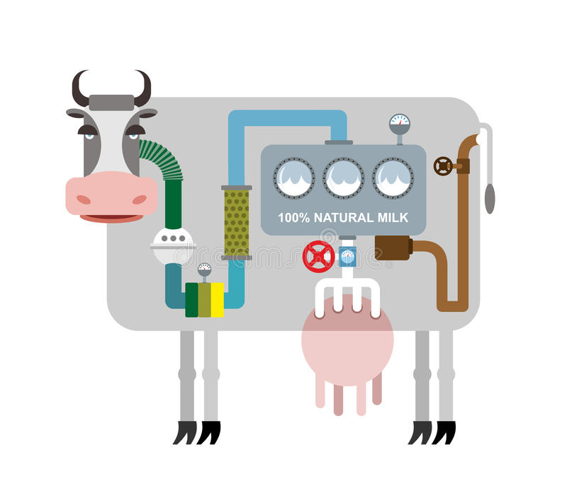 Vaca y leche Infographics que consigue la leche natural Etapas de favorable stock de ilustración