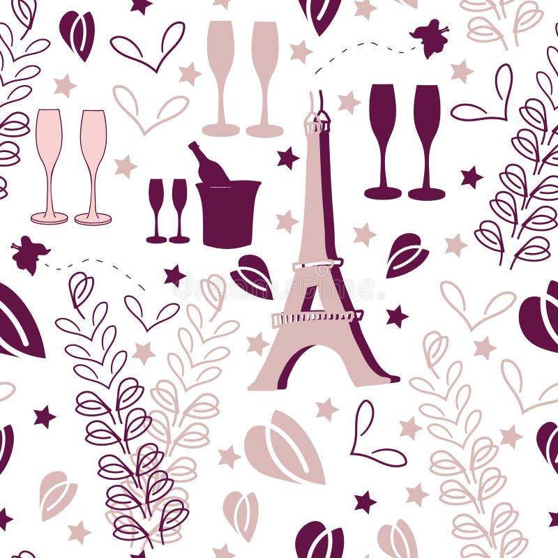 Vacación-amor romántico en Parise Seamless Repeat Pattern Background stock de ilustración