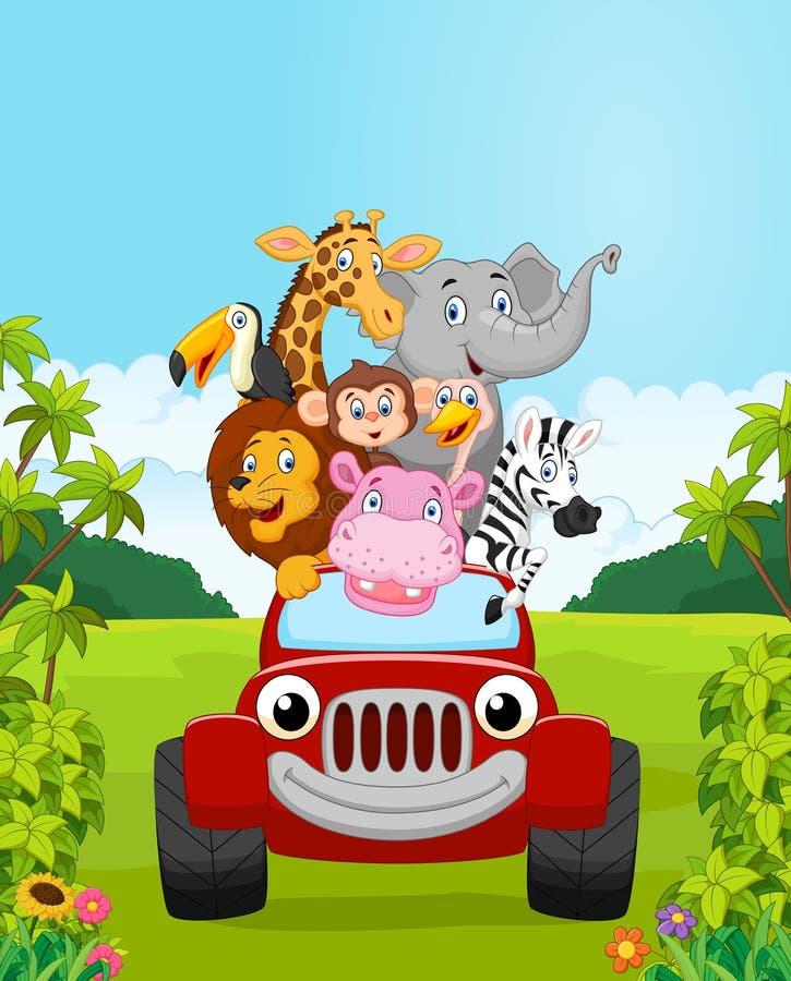Vacaciones animales de la colección de la historieta con el coche rojo libre illustration