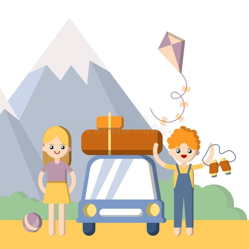 Vacaciones de familia al aire libre del verano Muchacho y muchacha, hombre y mujer con el coche y equipaje que conduce para las v ilustración del vector
