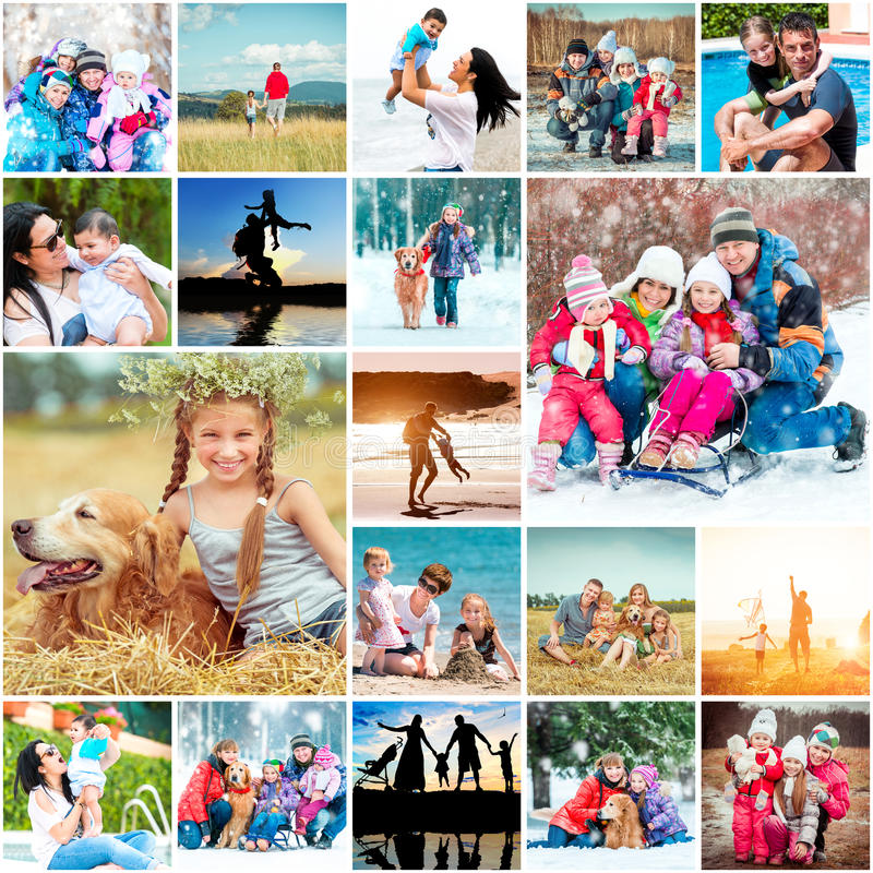 Vacaciones de familia del collage imágenes de archivo libres de regalías