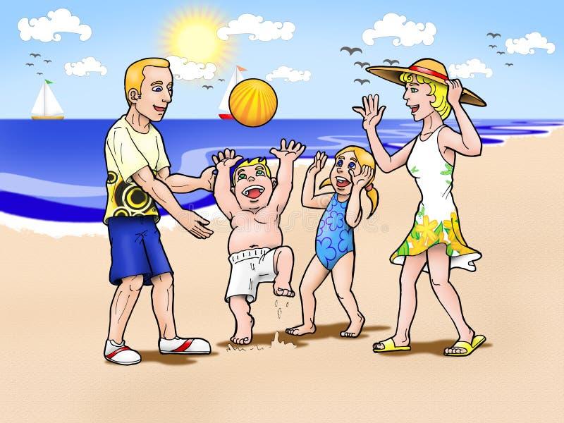 Vacaciones de familia en la playa imagenes de archivo