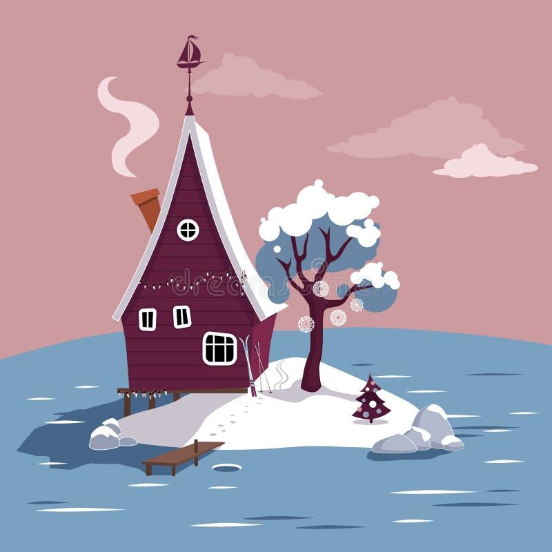 Vacaciones de invierno en una cabaña ilustración del vector