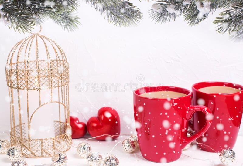Vacaciones de invierno, tarjeta de felicitación de la Navidad imagen de archivo