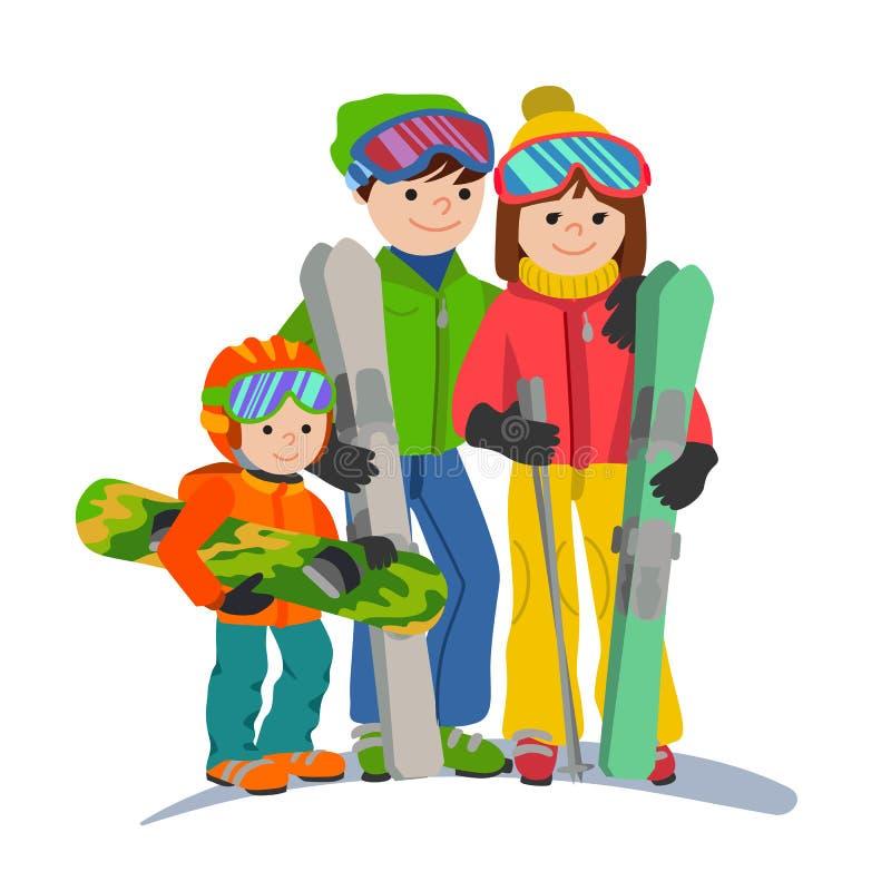 Vacaciones de los esquiadores de la familia en las montañas Los padres de la pareja del ejemplo y el deporte de invierno del niño libre illustration