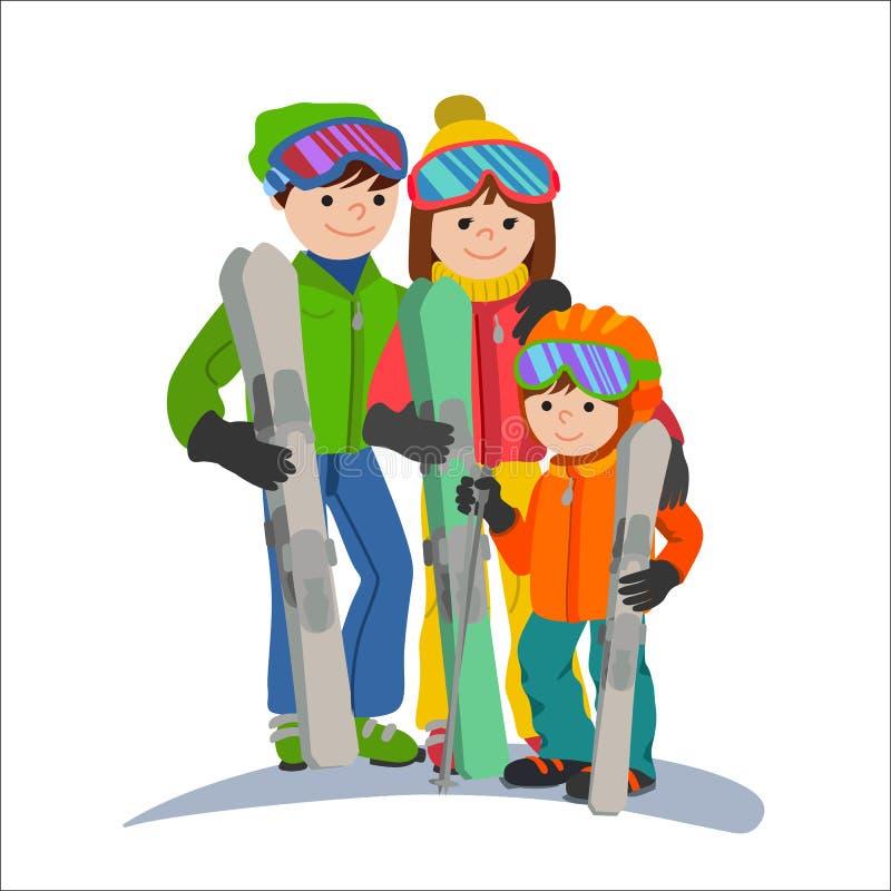Vacaciones de los esquiadores de la familia en las montañas Los padres de la pareja del ejemplo y el deporte de invierno del niño ilustración del vector